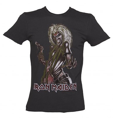 Mens Iron Maiden Killer Charcoal TShirt from Amplified Vintage