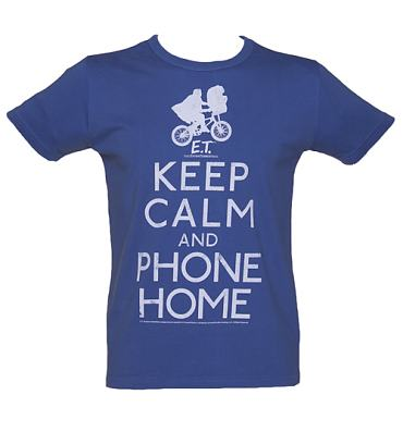 Men's Blue Keep Calm And Phone Home E.T. Acid Wash Vintage T-Shirt