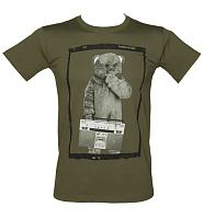 Men's Khaki Boombox Bungle Rainbow T-Shirt