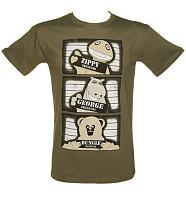 Men's Khaki Rainbow Mugshot Lineup T-Shirt