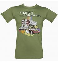 Men's Khaki Transformers Automobiles T-Shirt