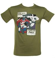 Men's Khaki Transformers Comic Strip T-Shirt
