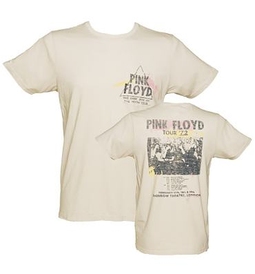 Men's Light Sand Dark Side Of The Moon Pink Floyd Front And Back Print T-Shirt from Junk Food