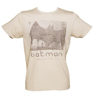 Men's Light Sand Grey Batman Gotham City T-Shirt from Junk Food