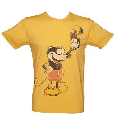 Men's Mustard Mickey Mouse Ears Off T-Shirt from Junk Food