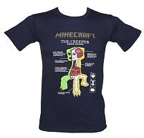 Men's Navy Blue The Creeper Anatomy Minecraft T-Shirt