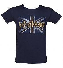 Men's Navy Distressed Union Jack Def Leppard T-Shirt [View details]