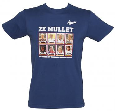 Men's Navy Retro Footballer Hairstyles Ze Mullet T-Shirt from Kempt
