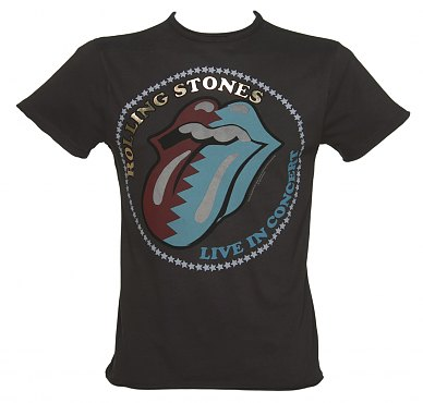 Mens Premium Charcoal Foil Print Live In Concert Rolling Stones TShirt from Amplified Vintage