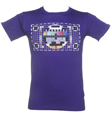 Men's Purple Retro TV Test Pattern T-Shirt