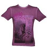 Men's Purple Streets Pinups Fashion T-Shirt from Amplified Vintage