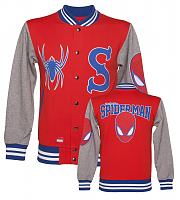 Men's Red And Grey Marvel Spiderman Jersey Varsity Jacket from Addict