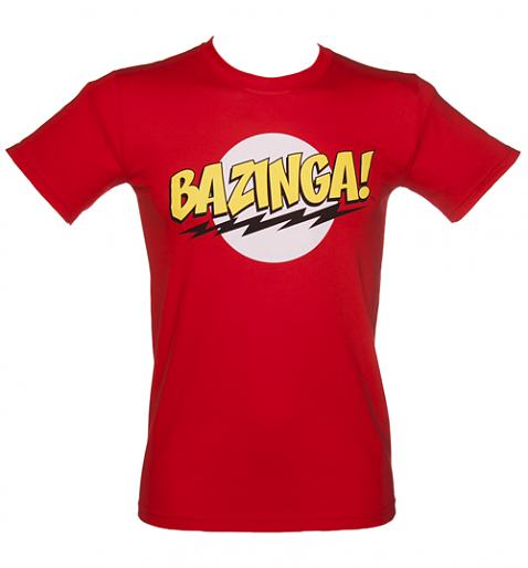 Men's Red Big Bang Theory Bazinga Logo T-Shirt