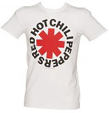 Men's White Red Hot Chili Peppers Asterisk Logo T-Shirt