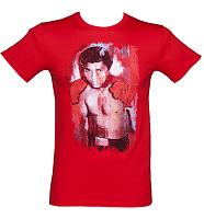 Men's Red World Chamipion Boxer Sidney Maurer Painted Design T-Shirt