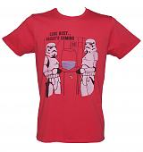 Men's Red Star Wars Look Busy Vaders Coming T-Shirt from Junk Food