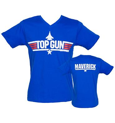 Men's Royal Blue V-Neck Top Gun Maverick T-Shirt