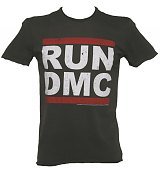 Men's Charcoal Run DMC Logo T-Shirt from Amplified Vintage