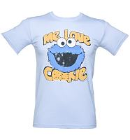 Men's Sky Blue Me Love Cookie Sesame Street T-Shirt