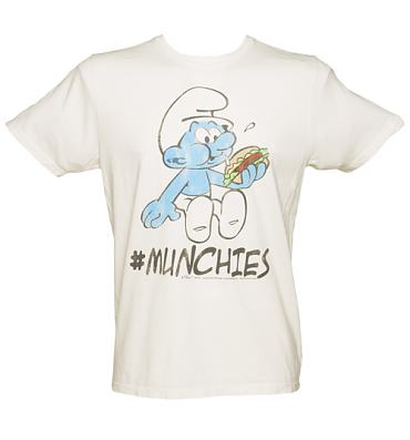 Men's Sugar White Smurfs Munchies T-Shirt from Junk Food