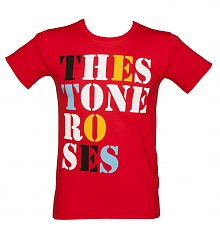 Men's The Stone Roses Font Logo Red T-Shirt [View details]