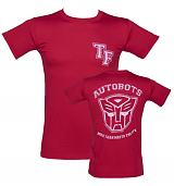 Men's Red Transformers Autobots More Than Meets The Eye Varsity T-Shirt