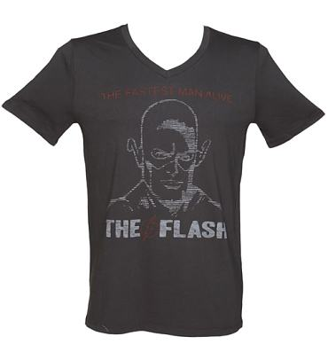 Men's Vintage The Flash DC Comics Print V-Neck T-Shirt from Junk Food