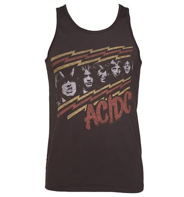 Men's Washed Black AC/DC Faces Sleeveless Vest from Junk Food