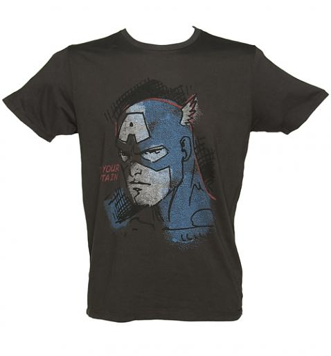 Men's Black Captain America Vintage T-Shirt