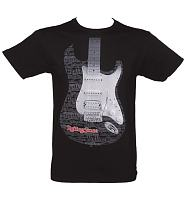 Men's Washed Black Rolling Stone Magazine Guitar T-Shirt