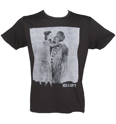 Men's Washed Black Star Wars Chewbacca And Princess Leia Need A Lift T-Shirt from Junk Food