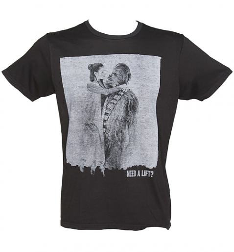 Men's Washed Black Star Wars Chewbacca And Princess Leia Need A Lift T-Shirt