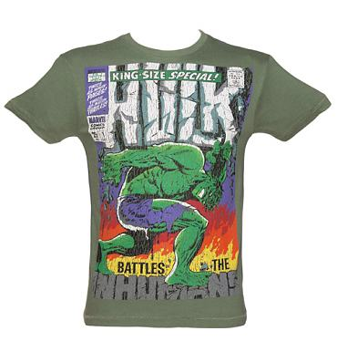 Men's Washed Green Comic Cover Print Incredible Hulk T-Shirt from Fabric Flavours
