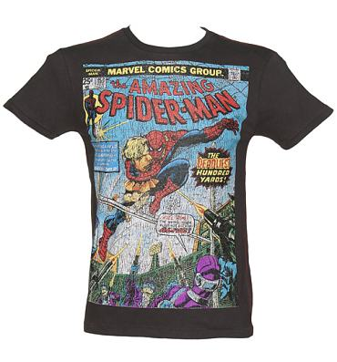 Men's Washed Black Comic Cover Print Amazing Spiderman T-Shirt from Fabric Flavours