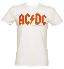 Men's White AC/DC Logo T-Shirt from Amplified Vintage [View details]