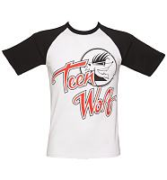 Men's White And Black Teen Wolf Logo Baseball T-Shirt
