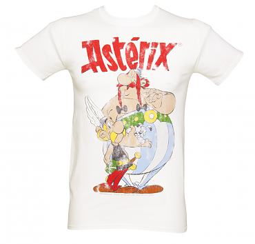 Men's White Asterix and Obelix Vintage T-Shirt