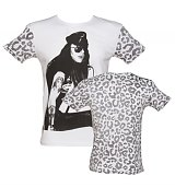 Men's White Axl Rose Leopard Sleeves Guns N Roses T-Shirt from Worn By
