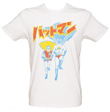 Men's White Japanese Batman And Robin T-Shirt from Junk Food