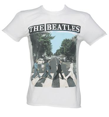 Men's White Beatles Abbey Road T-Shirt from Amplified Vintage
