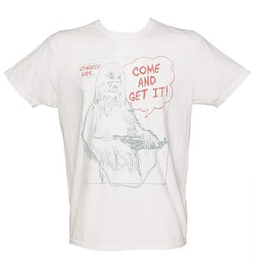 Men's White Chewbacca Come And Get It Star Wars T-Shirt from Junk Food