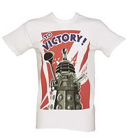 Men's White Dalek To Victory Doctor Who T-Shirt