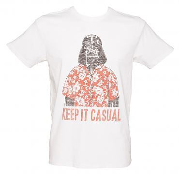 Men's White Darth Vader Keep It Casual Star Wars T-Shirt from Junk Food