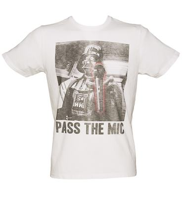 Men's White Darth Vader Pass The Mic Star Wars T-Shirt from Junk Food