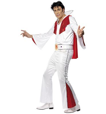 Men's White Elvis Fancy Dress Costume