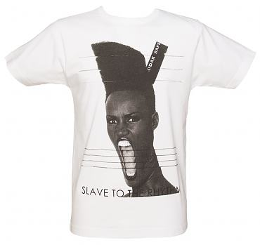 Men's White Grace Slave To The Rhythm T-Shirt from To The Black