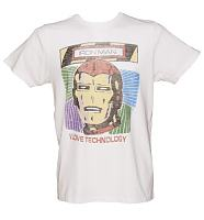 Men's White I Love Technology Iron Man T-Shirt from Junk Food