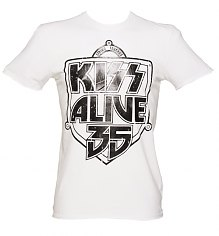 Men's White KISS Alive 35 Foil T-Shirt from Amplified Vintage [View details]