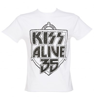 Mens White Kiss Alive 35 TShirt from Amplified