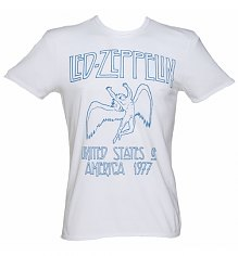 Men's White Led Zeppelin USA 1977 T-Shirt from Amplified Vintage [View details]
